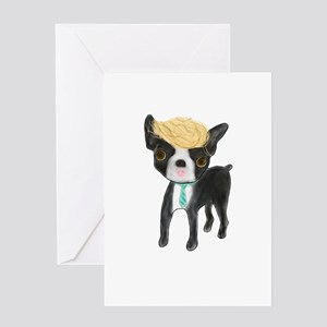 Trumped Boston terrier Greeting Cards