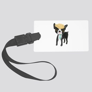 Trumped Boston terrier Large Luggage Tag