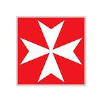White Maltese Cross Square Sticker 3
