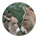 Donkeys round car magnet