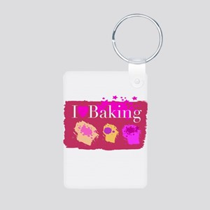 I Heart Baking Aluminum Photo Keychain