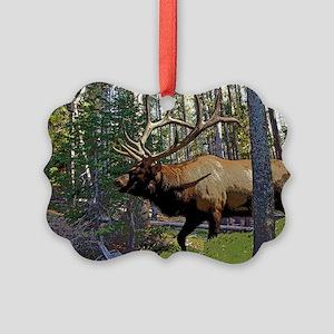 Bull Elk 4 Picture Ornament