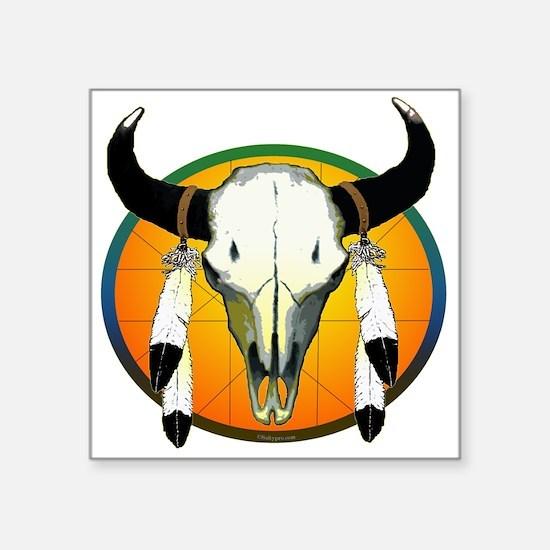 """buffalo skull Square Sticker 3"""" x 3"""""""