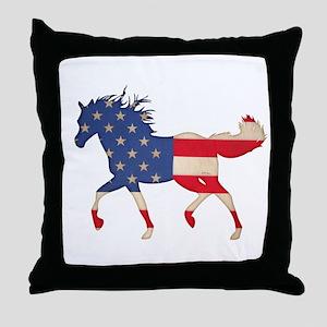 American Flag Horse Throw Pillow