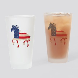American Flag Friesian Horse Drinking Glass