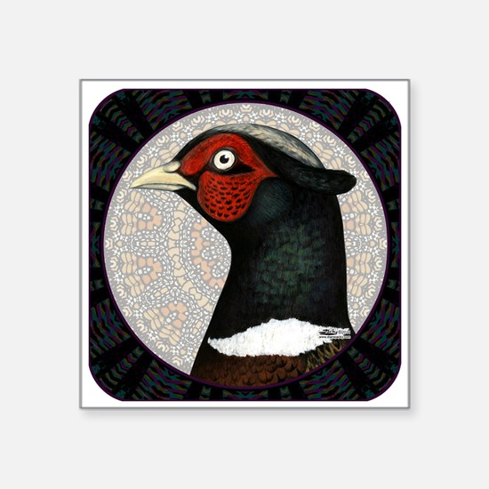 "Ringneck Pheasant Circle Square Sticker 3"" x"