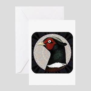 Ringneck Pheasant Circle Greeting Card