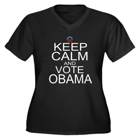 Keep Calm and Vote Obama Women's Plus Size V-Neck