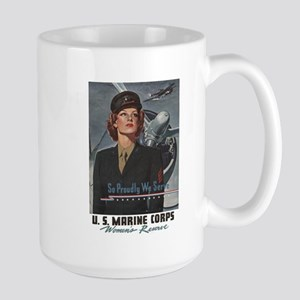 WWII USMC Women Recruiting Poster Large Mug