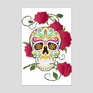 Rose Sugar Skull Mini Poster Print