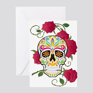 Rose Sugar Skull Greeting Card