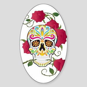 Rose Sugar Skull Sticker (Oval)