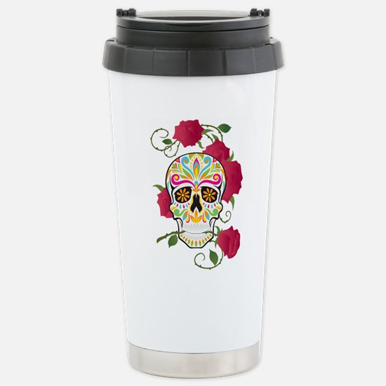Rose Sugar Skull Stainless Steel Travel Mug