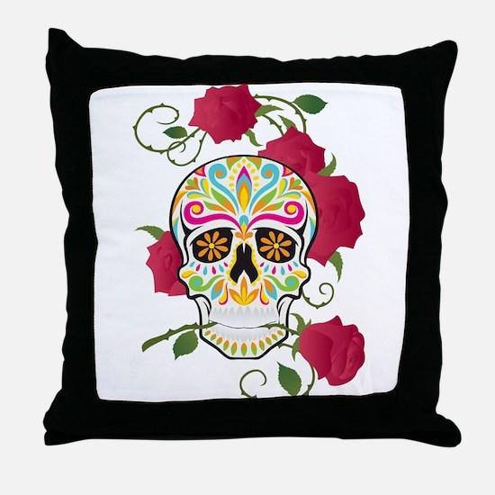 Rose Sugar Skull Throw Pillow