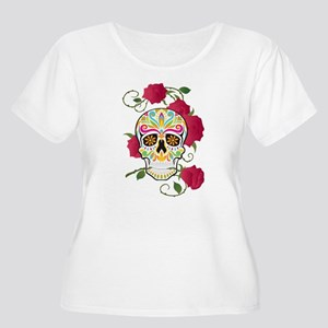 Rose Sugar Skull Women's Plus Size Scoop Neck T-Sh