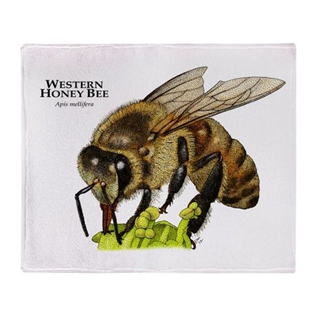Western Honey Bee Throw Blanket
