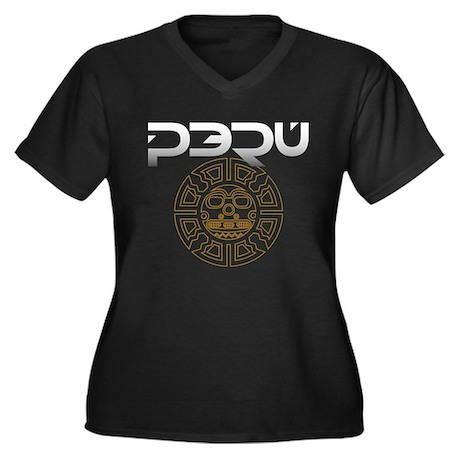 Peru Sun T-Shirt.png Women's Plus Size V-Neck Dark