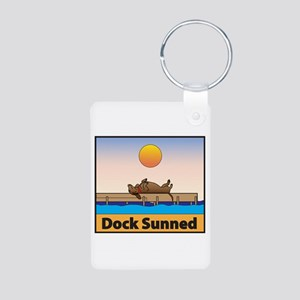 Dock Sunned Dachshund Aluminum Photo Keychain