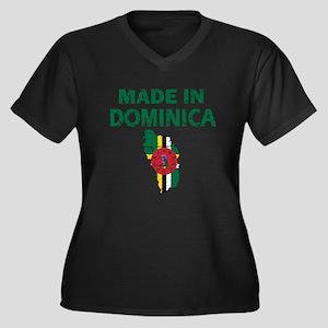 Made In Dominica Women's Plus Size V-Neck Dark T-S