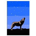 Winter Howling Wolf Large Poster