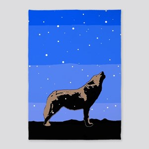 Winter Howling Wolf 5'x7'Area Rug