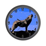 Winter Howling Wolf Wall Clock