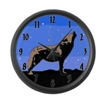 Winter Howling Wolf Large Wall Clock