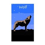 Winter Howling Wolf Sticker (Rectangle 50 pk)