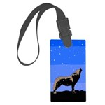Winter Howling Wolf Large Luggage Tag