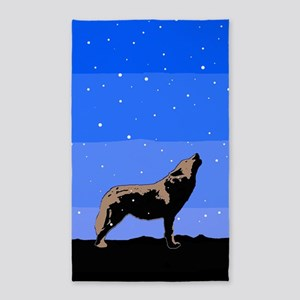 Winter Howling Wolf Area Rug