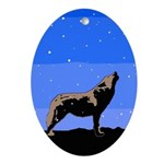 Winter Howling Wolf Oval Ornament