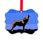 Winter Howling Wolf Picture Ornament