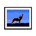Winter Howling Wolf Framed Panel Print