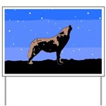 Winter Howling Wolf Yard Sign
