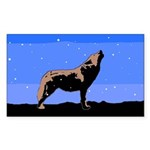 Winter Howling Wolf Sticker (Rectangle)