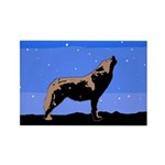 Winter Howling Wolf Rectangle Magnet (10 pack)