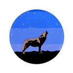 Winter Howling Wolf Button
