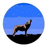 Winter Howling Wolf Round Car Magnet