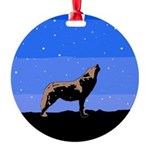 Winter Howling Wolf Round Ornament