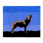 Winter Howling Wolf Throw Blanket