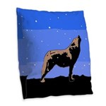 Winter Howling Wolf Burlap Throw Pillow