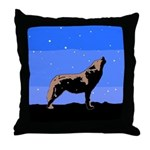 Winter Howling Wolf Throw Pillow