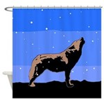 Winter Howling Wolf Shower Curtain
