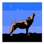 Winter Howling Wolf Square Car Magnet 3