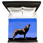 Winter Howling Wolf King Duvet