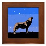 Winter Howling Wolf Framed Tile