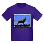 Winter Howling Wolf Kids Dark T-Shirt