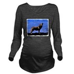 Winter Howling Wolf Long Sleeve Maternity T-Shirt