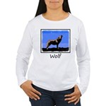 Winter Howling Wolf Women's Long Sleeve T-Shirt