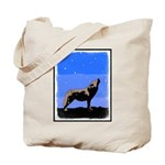 Winter Howling Wolf Tote Bag